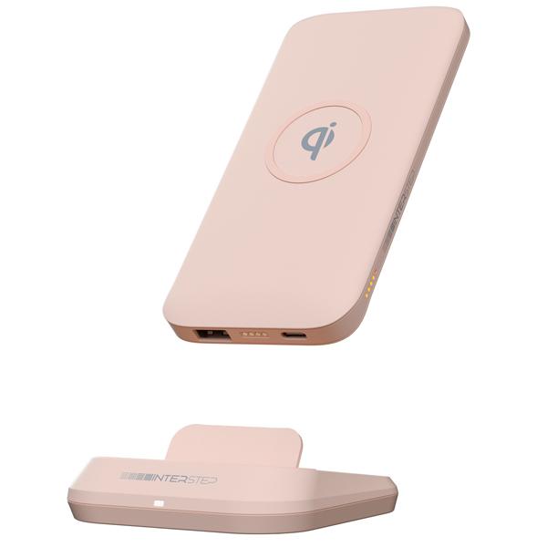 Внешний аккумулятор InterStep 10000mAh Qi 10W TypeC Pink фото