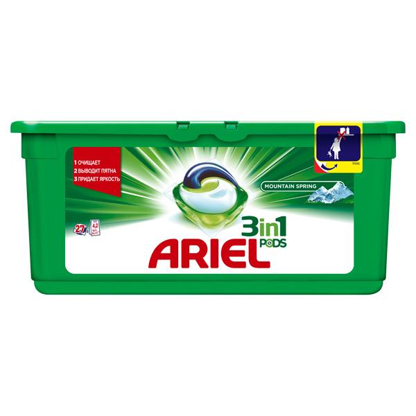 Жидкость для стирки Ariel 3in1 PODS 27 кап. ГорРод