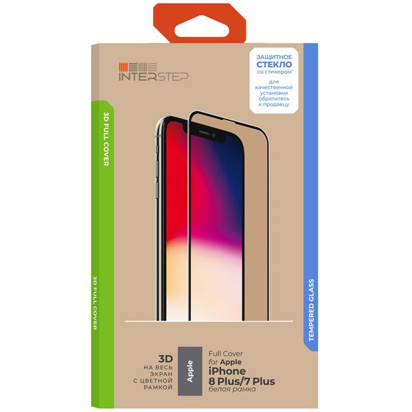 Защитное стекло InterStep 3D Full Cover iPhone 8 Plus/7 Plus бел