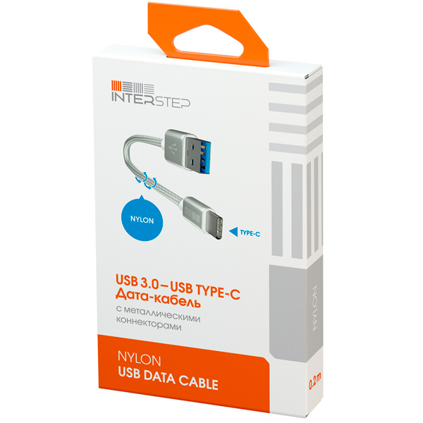 Кабель USB Type-C InterStep TypeC-USB3.0 0,2м нейлон Silver