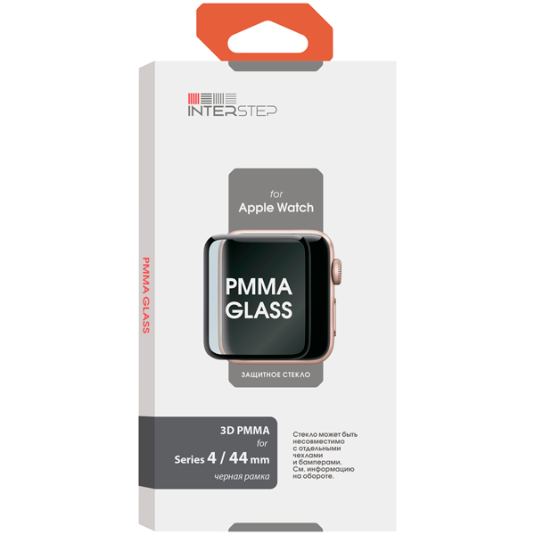 Стекло для Apple Watch InterStep 3D PMMA Apple Watch S4/S5 44mm