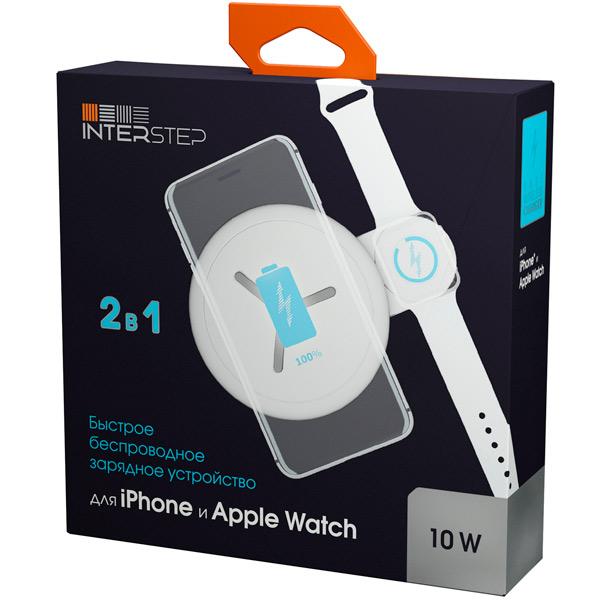 БЗУ для Apple InterStep для Apple Watch +IPhone, белый, QI, мощность 12Вт