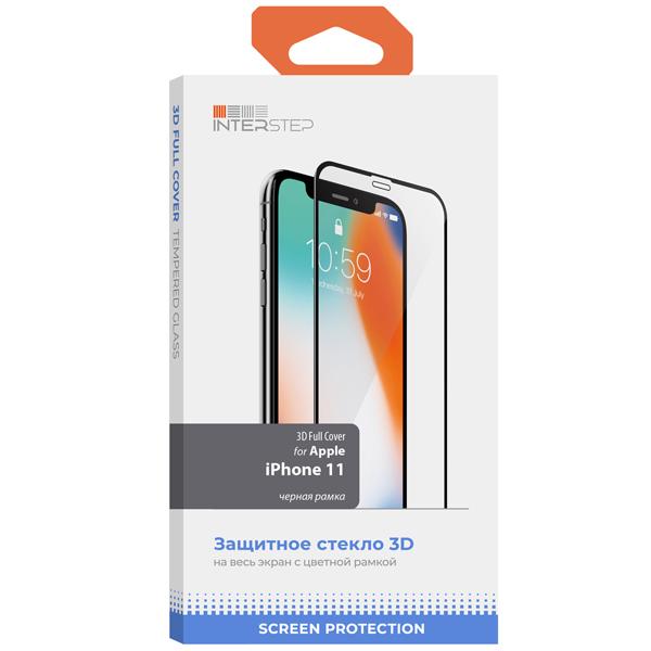 Защитное стекло InterStep 3D Full Cover для iPhone11/Xr Черн. рамка