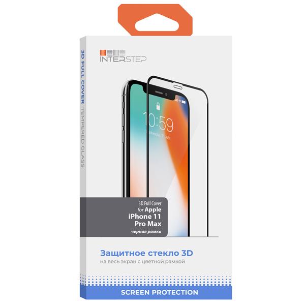 Защитное стекло InterStep 3D Full Cover для iPhone11 Pro Max черн. рамка