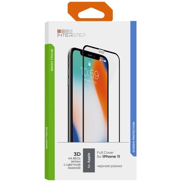 Защитное стекло InterStep 3D для iPhone11/Xr Черн.рамка