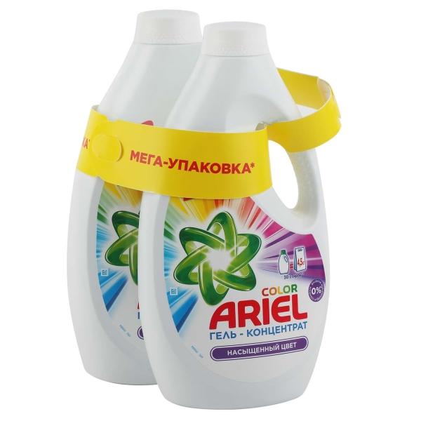 Жидкость для стирки Ariel Гель-концентрат Насыщенный цвет 2x1,95л
