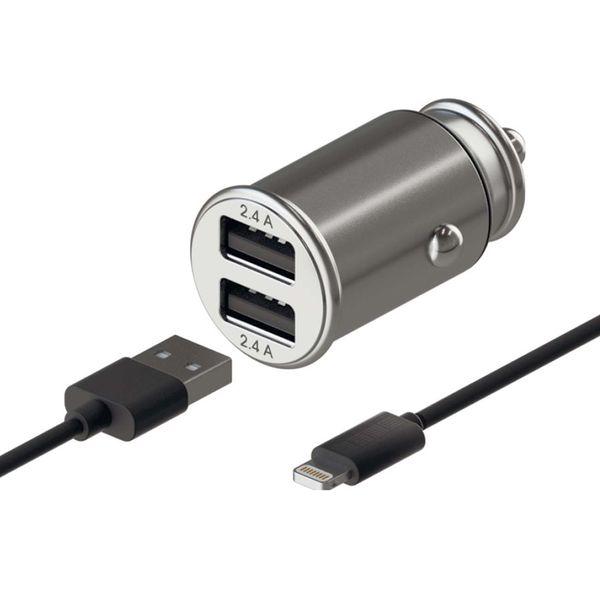 Автомобильное зарядное устройство для Apple InterStep алюминий, 24W + кабель MFI,TPE, 1,0м, черный