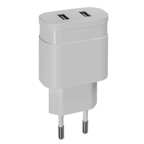 Сетевое зарядное устройство RIVACASE 2*USB 2,4A (PS4122 W00)