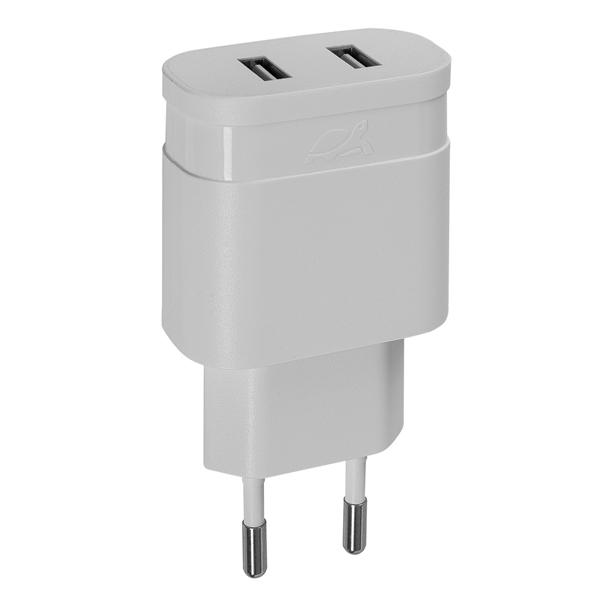 Сетевое зарядное устройство RIVACASE 2*USB 3,4A (PS4123 W00)