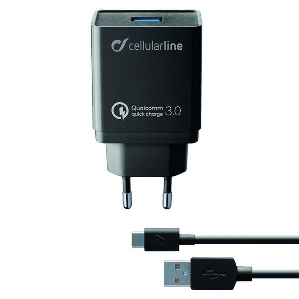 Сетевое зарядное устройство Cellular Line USB Kit QC + Type-C 1м, Black (ACHHUKITQCTYCK) фото