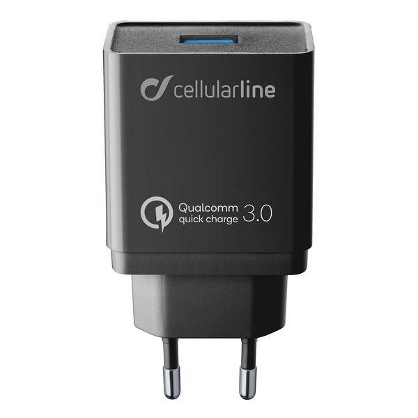 Сетевое зарядное устройство Cellular Line USB QC, Black (ACHHUUSBQCK) черного цвета