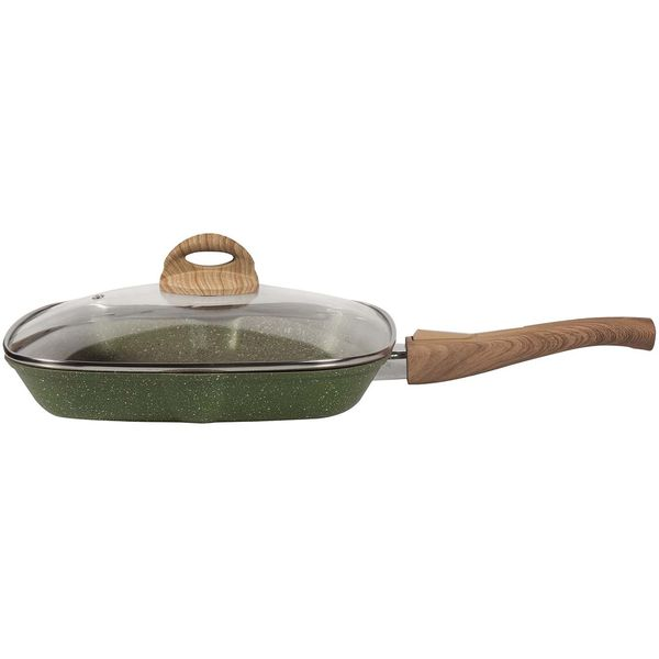 Сковорода гриль Panairo Oliverstone Max с крышкой 27x27см