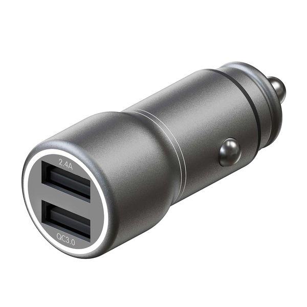 Автомобильное зарядное устройство InterStep(Metal: 2*USB+QuickCharge3.0, 30W, Dark Grey)