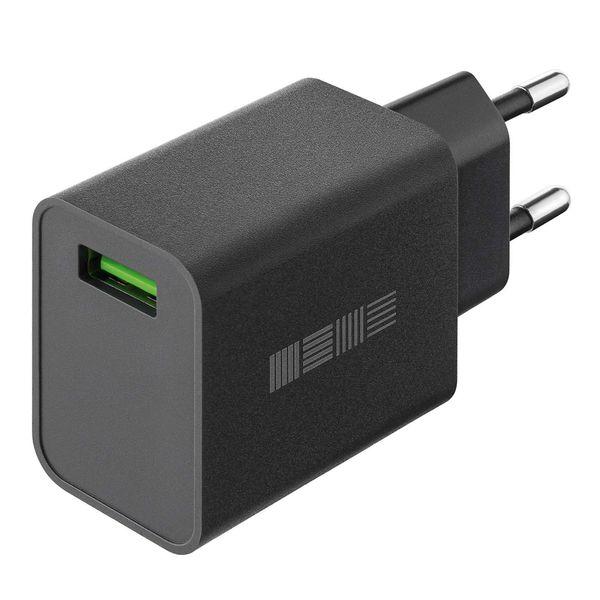 Сетевое зарядное устройство InterStep New RT:1*USB(18W) 2.4A QuickCharge3.0, Black