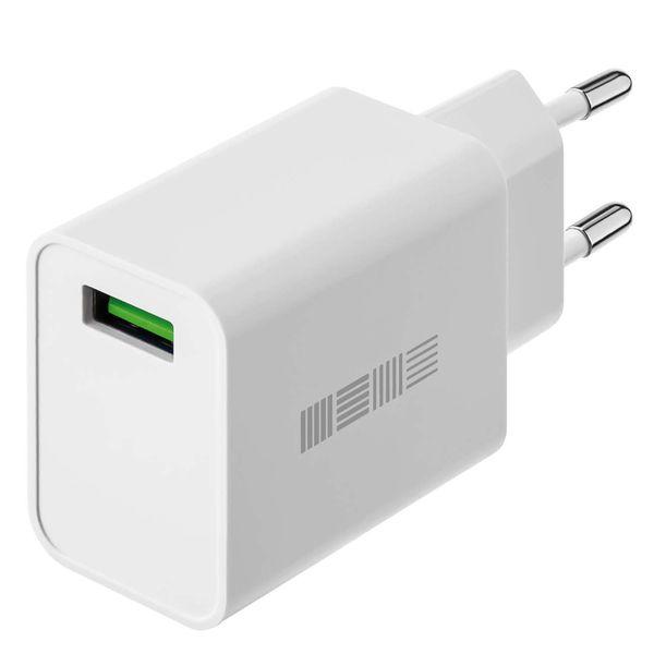 Сетевое зарядное устройство InterStep New RT:1*USB(18W) 2.4A QuickCharge3.0, White