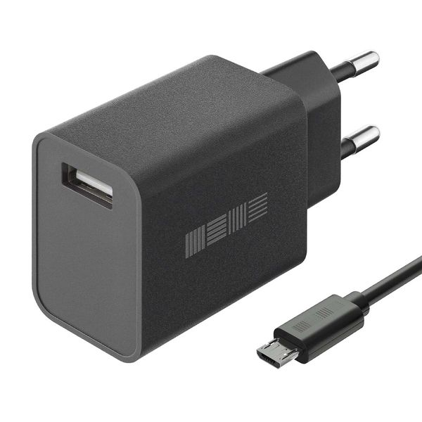 Сетевое зарядное устройство с кабелем InterStep New RT:1*USB 2A, кабель microUSB 1м, Black