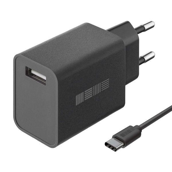 Сетевое зарядное устройство с кабелем InterStep New RT:1*USB 2A, кабель USB Type-C 1м, Black