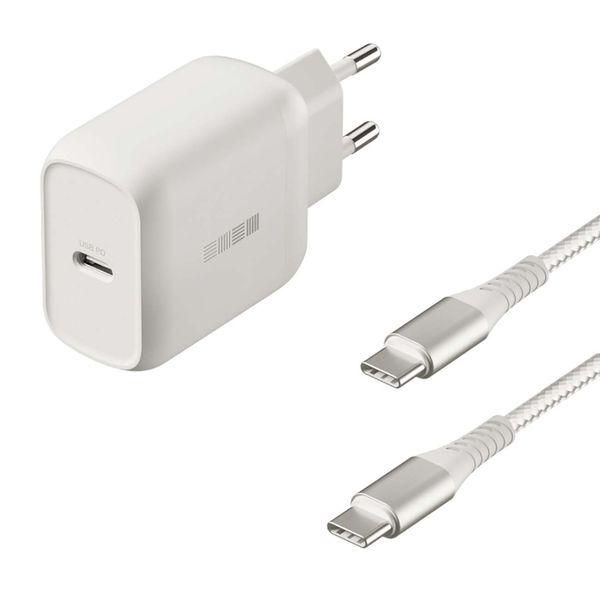Сетевое зарядное устройство InterStep, PD18W(USB-C) + кабель USB-C 1м, White  - купить со скидкой