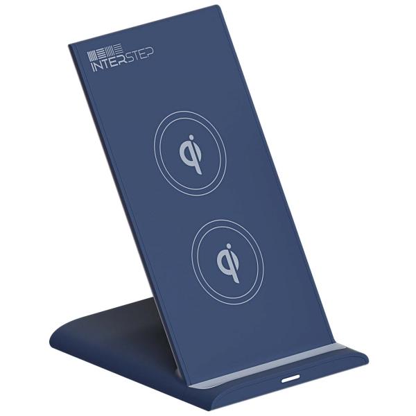 Беспроводное зарядное устройство InterStep Qi WCH-2C Blue + кабель USB/Type-C 1,5м