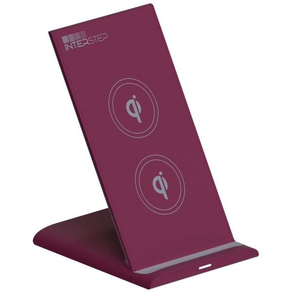 Беспроводное зарядное устройство InterStep Qi WCH-2C Bordeaux + кабель USB/Type-C 1,5м