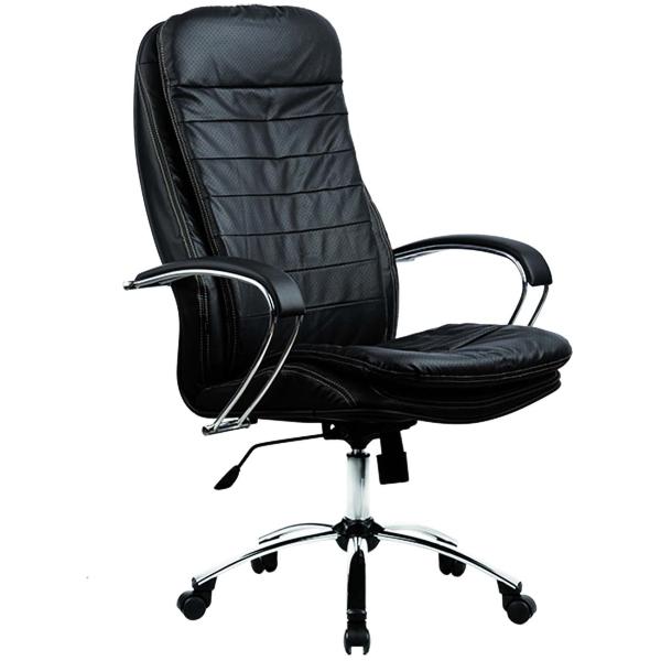 Кресло компьютерное Метта черный/хром. сталь