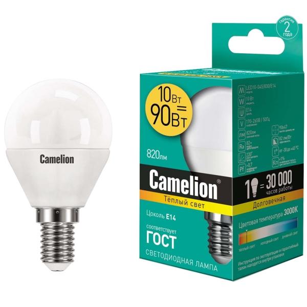 Лампа LED Camelion LED10-G45/830/E14
