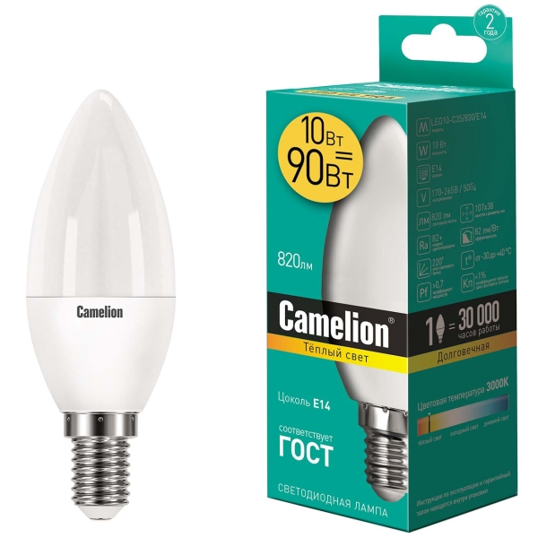 Лампа LED Camelion LED10-C35/830/E14