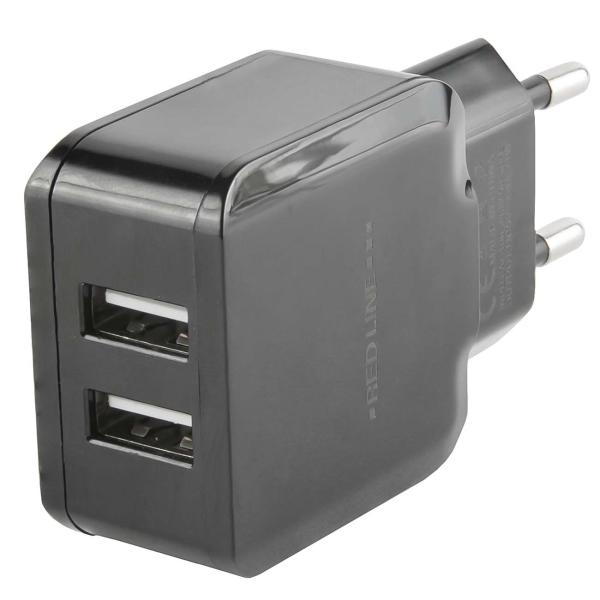 Сетевое зарядное устройство с кабелем Red Line 2 USB , 2.4A + MicroUSB, Black