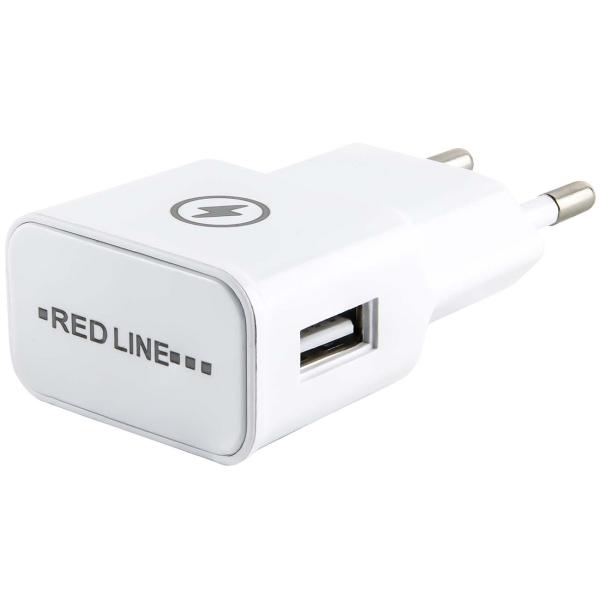 Сетевое зарядное устройство с кабелем Red Line 1 USB, 1A + MicroUSB, White