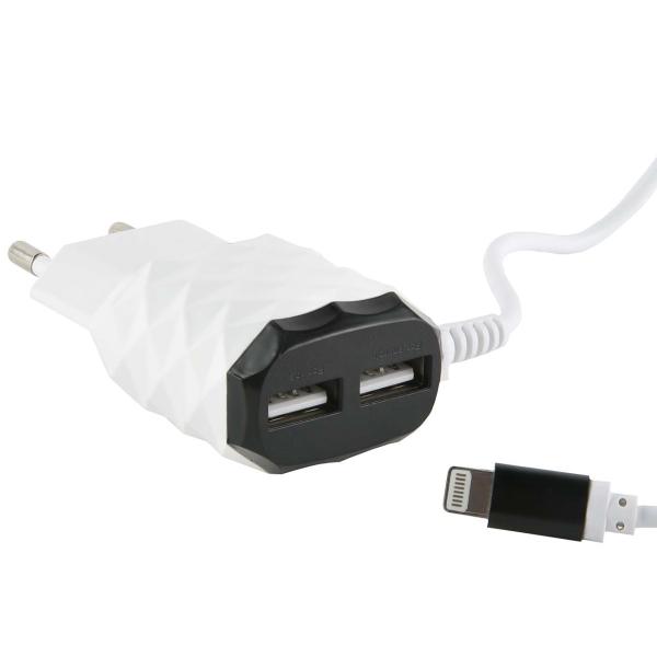 Сетевое зарядное устройство с кабелем Red Line 2 USB+8pin для Apple , 2.1A, Black