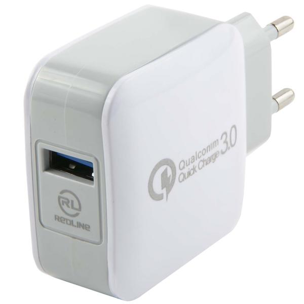 Сетевое зарядное устройство Red Line Tech USB QC 3.0 , White