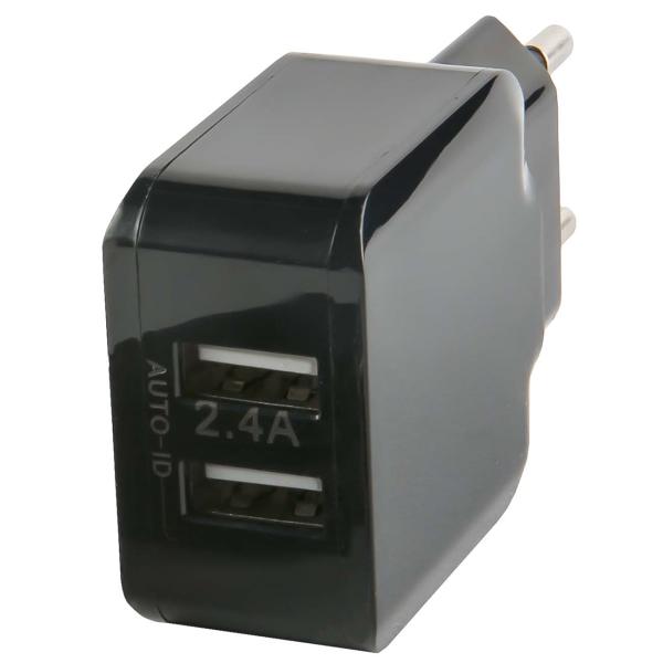Сетевое зарядное устройство с кабелем Red Line 2 USB , 2.4A, + Type-C, Black