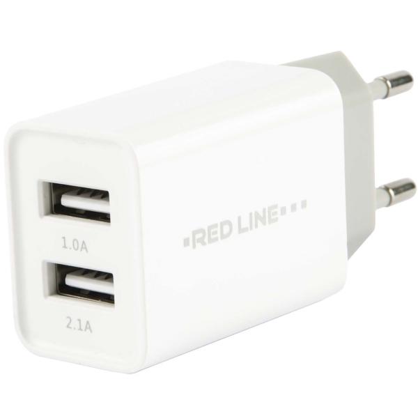Сетевое зарядное устройство Red Line Lux 2 USB, 2.1A Fast Charger, White