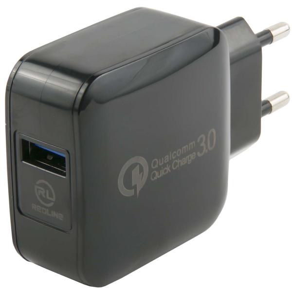Сетевое зарядное устройство Red Line Tech USB QC 3.0 , Black фото