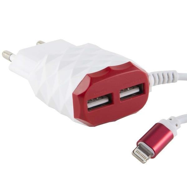Сетевое зарядное устройство с кабелем Red Line 2 USB+8pin для Apple, 2.1A, Red