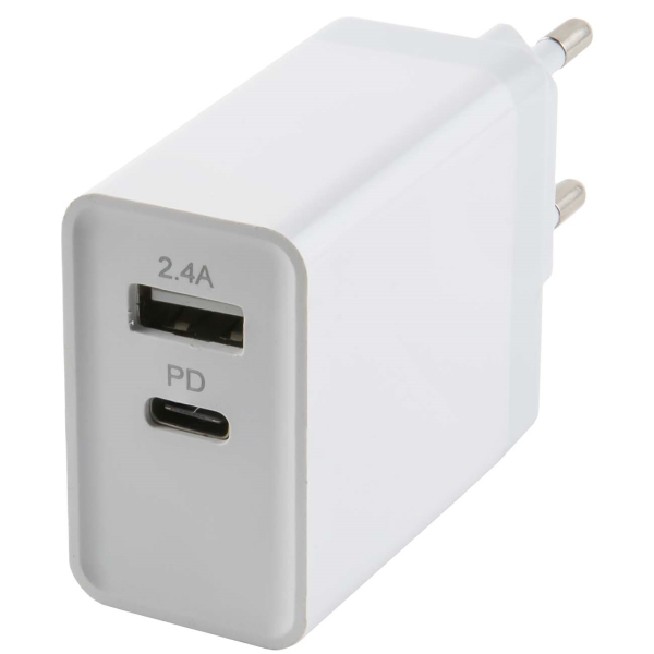 Сетевое зарядное устройство с кабелем Red Line Tech USB + Type-C , 3A, Power Delivery, White фото