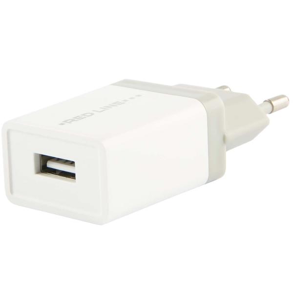 Сетевое зарядное устройство Red Line Lux 1 USB , 1A Fast Charger, White