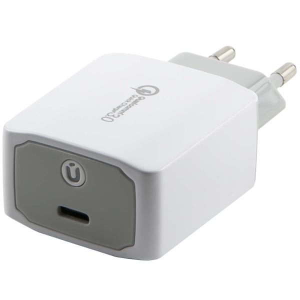 Сетевое зарядное устройство с кабелем Red Line Tech USB Type-C QC 3.0 + Type-C , White фото
