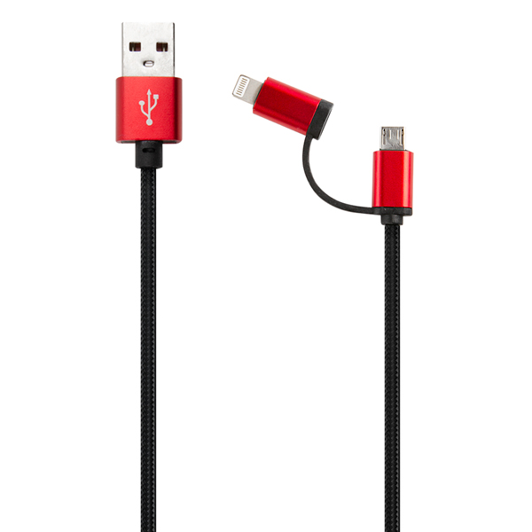 Кабель для смартфона Red Line LX01 2 в 1, USB - microUSB+8-pin, нейлон, черный
