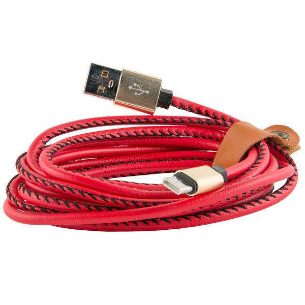 Кабель USB Type-C Red Line USB - Type-C, 2 метра, экокожа, красный