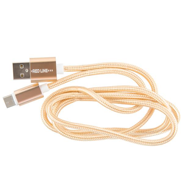 Кабель USB Type-C Red Line USB - Type-C 2.0 нейлон, золотой
