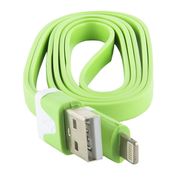 Кабель для iPod, iPhone, iPad Red Line USB - 8-pin, плоский, зеленый