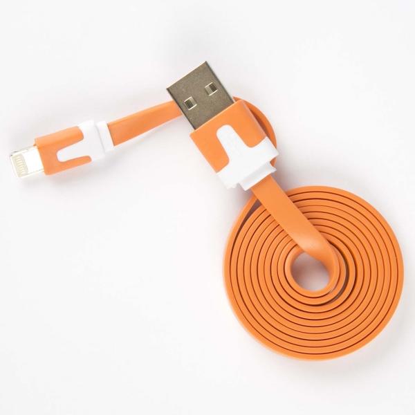 Кабель для iPod, iPhone, iPad Red Line USB - 8-pin, плоский, оранжевый