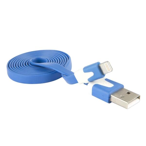 Кабель для iPod, iPhone, iPad Red Line USB - 8-pin, плоский, синий
