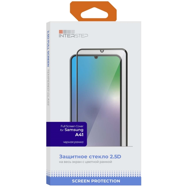 Защитное стекло для Samsung InterStep Full Screen Cover Galaxy A41, черн. рамка фото