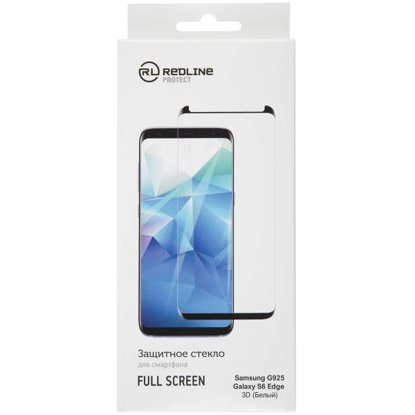Защитное стекло для Samsung Red Line для G925 Galaxy S6 Edge, FS(3D) TG White белый