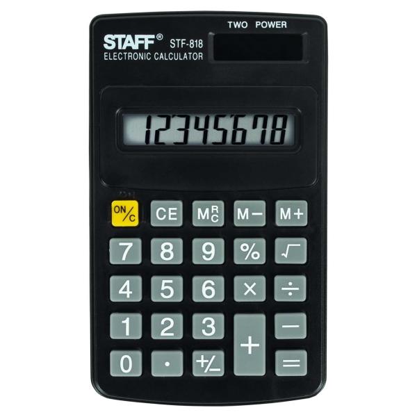 Калькулятор Staff STF-818 карманный (250142)
