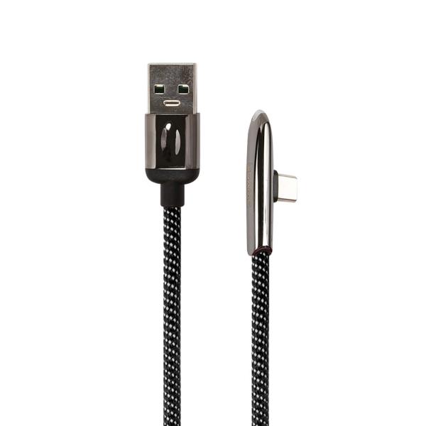 Кабель для смартфона Usams U34 USB-A/C, с индик.боковой, Black (УТ000019976) фото
