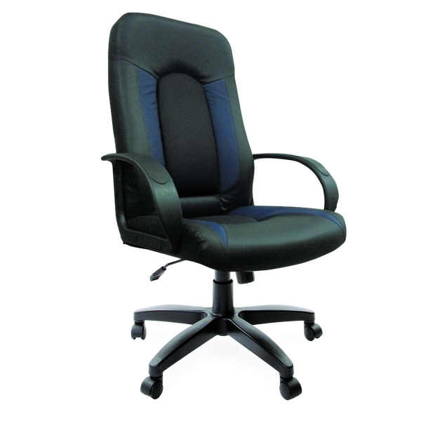 Кресло компьютерное Brabix Strike EX-525 э/к Black/Blue/ткань Gray (531378) фото