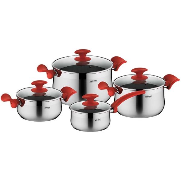 Набор посуды (нержавейка) Nadoba Karla с крышками, 8 предметов (727519)